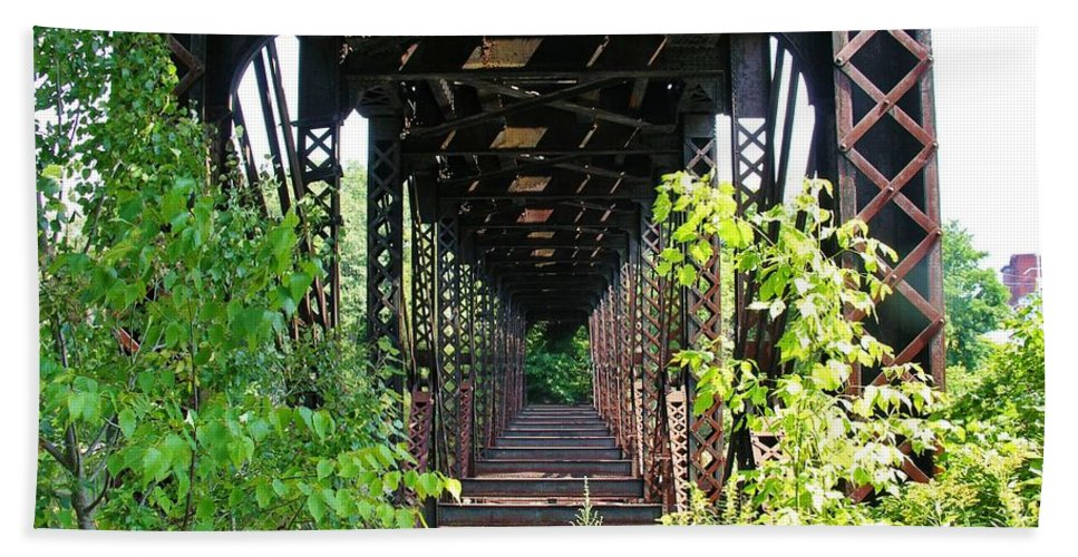 Bridge Beach Towel featuring the photograph Old Railroad Car Bridge by Sherman Perry