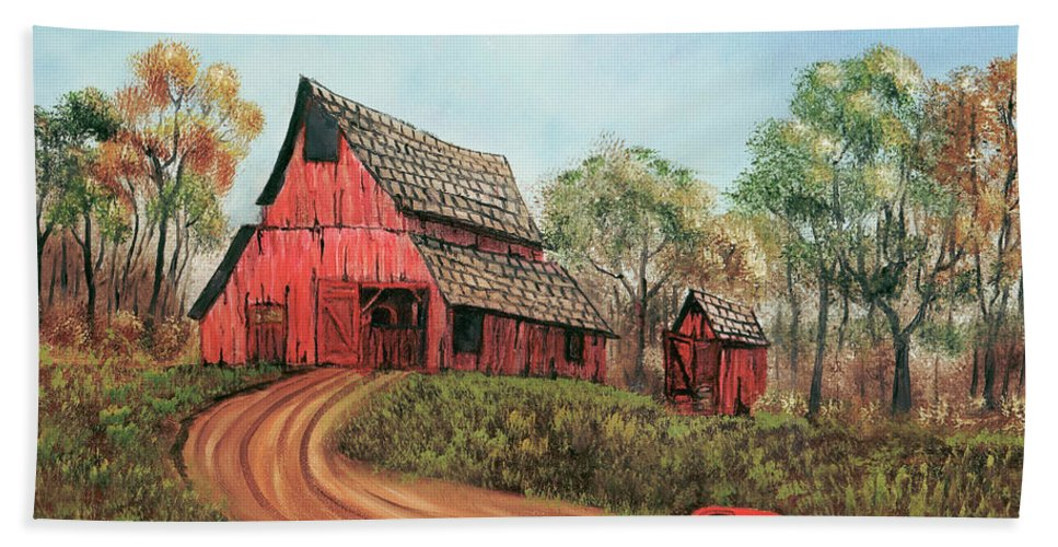 Old Barn Beach Towel featuring the painting Old Red Barn by Terry Lewey