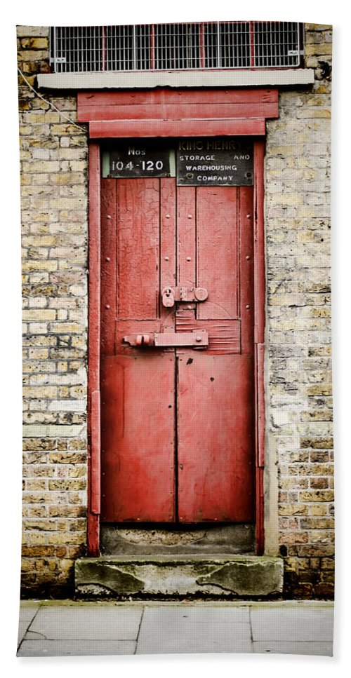 Door Beach Sheet Featuring The Photograph Old Red Door By Heather Applegate