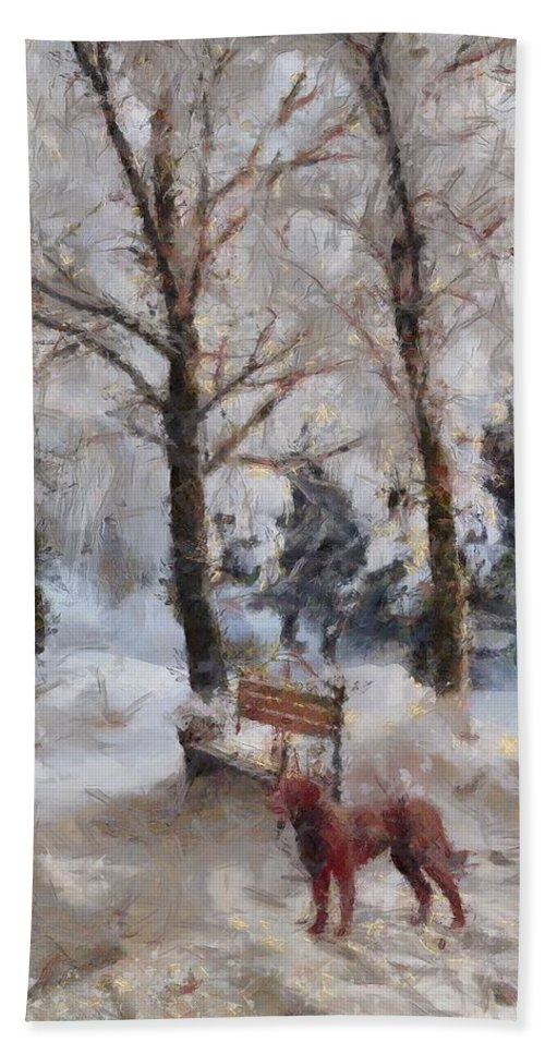 Old Red Playing In The Snow Beach Towel featuring the painting Old Red Playing In The Snow by L Wright