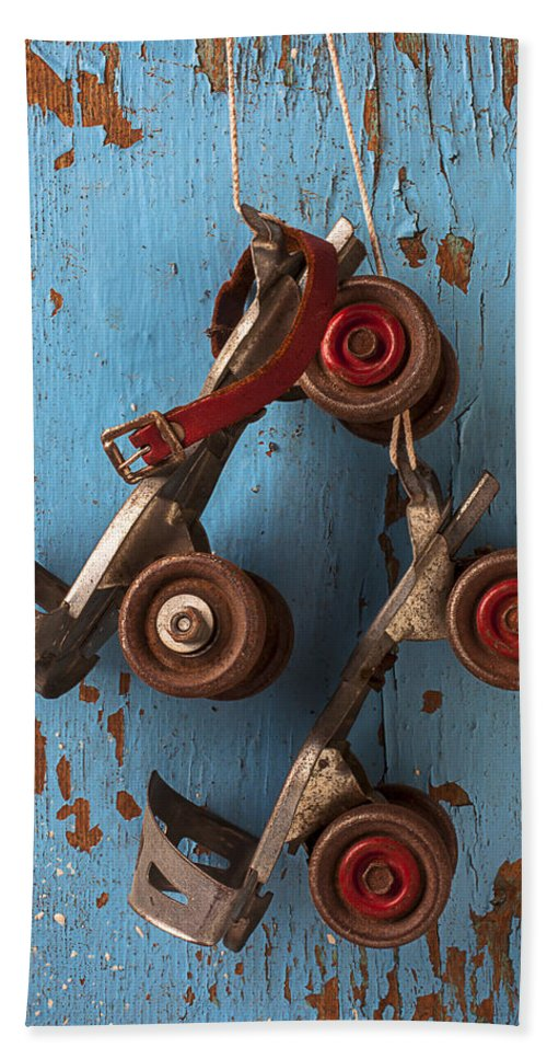 Old Roller Skates Beach Towel featuring the photograph Old Roller Skates by Garry Gay