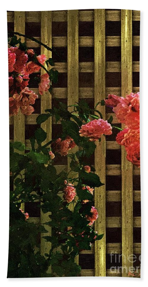 Lattice Beach Towel featuring the painting Old Roses, Old Wood by RC DeWinter