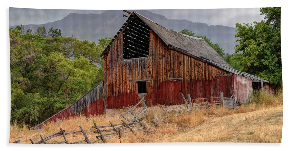 Storm Beach Towel featuring the photograph Old Rural Barn In Thunderstorm - Utah by Gary Whitton