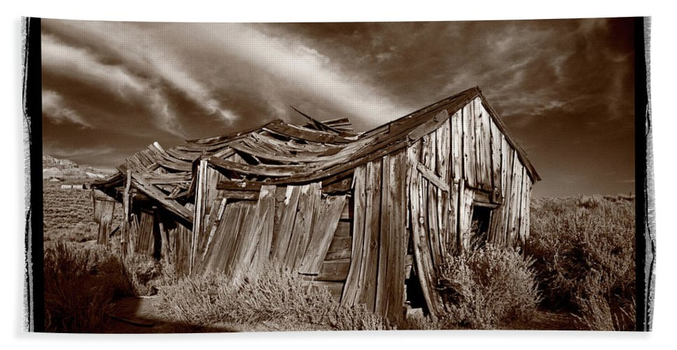 Black Beach Towel featuring the photograph Old Shack Bodie Ghost Town by Steve Gadomski