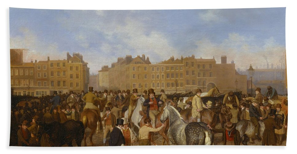Jacques-laurent Agasse Beach Towel featuring the painting Old Smithfield Market by Jacques-Laurent Agasse