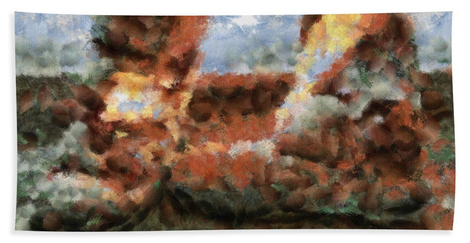Boots Beach Towel featuring the painting Old Snow Boots by Inspirowl Design