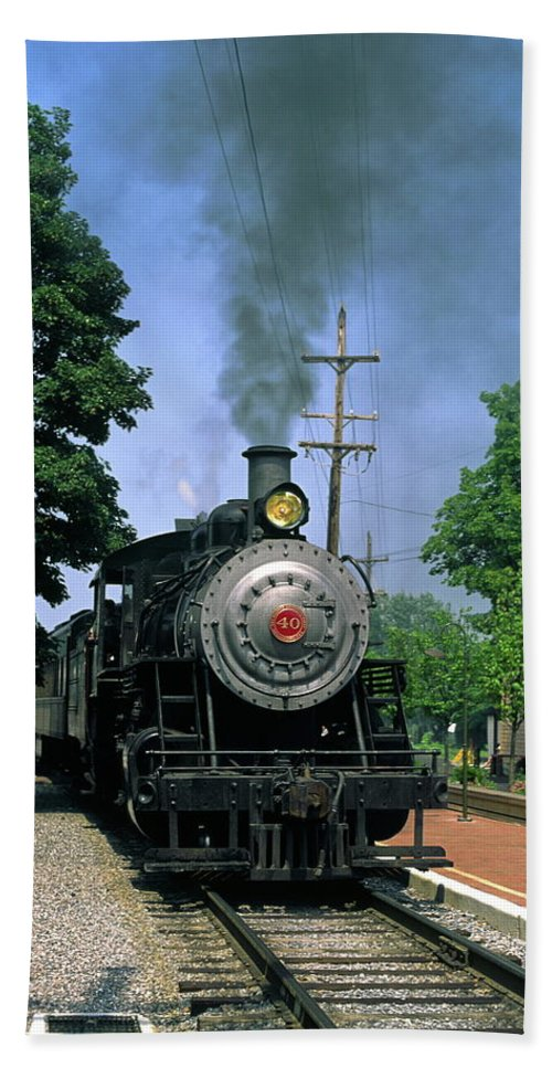 Old Steam Train Moving Along Railroad Track Beach Towel featuring the photograph Old Steam Train by Sally Weigand