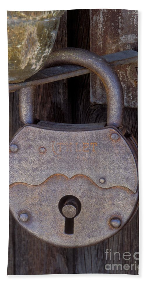 Padlock Beach Towel featuring the photograph Old Time Padlock by Sandra Bronstein