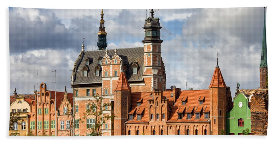 Gdansk Beach Towel featuring the photograph Old Town Of Gdansk In Poland by Artur Bogacki