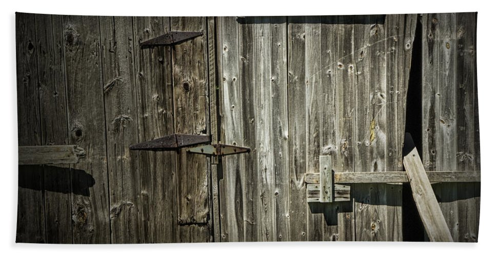 Art Beach Towel featuring the photograph Old Weathered Barn Door by Randall Nyhof