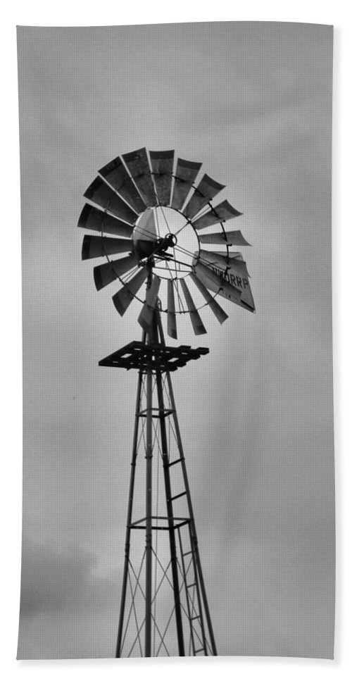 Black And White Windmill Beach Towel featuring the photograph Old Windmill by Dan Sproul