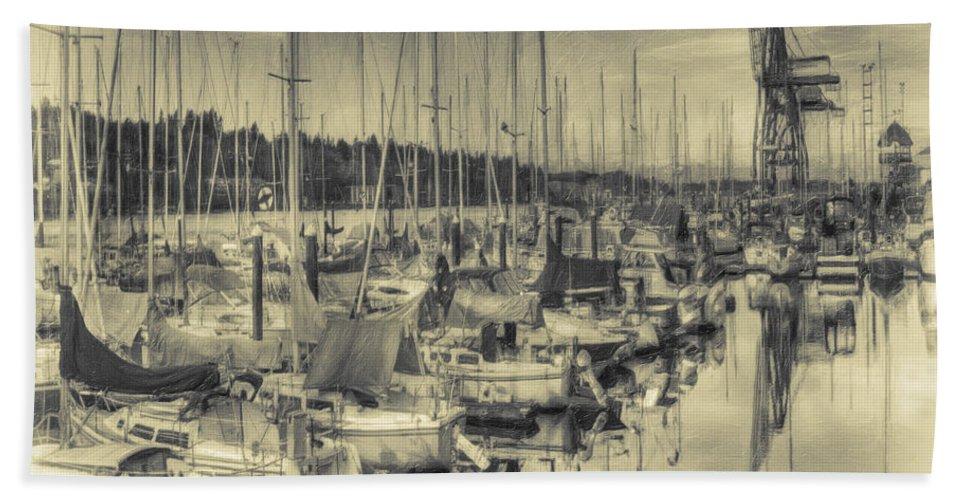 Olympia Beach Towel featuring the photograph Olympia Marina 3 by Jean OKeeffe Macro Abundance Art