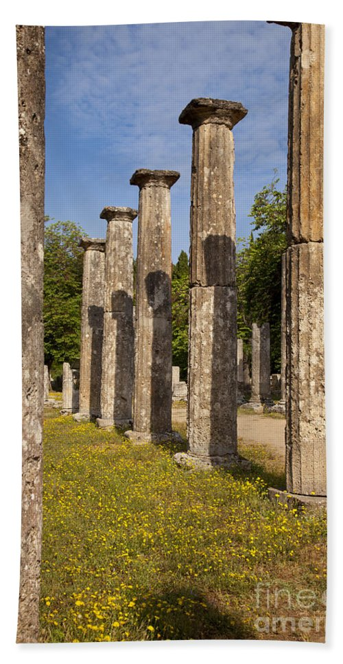 Ancient Beach Towel featuring the photograph Olympia Ruins by Brian Jannsen