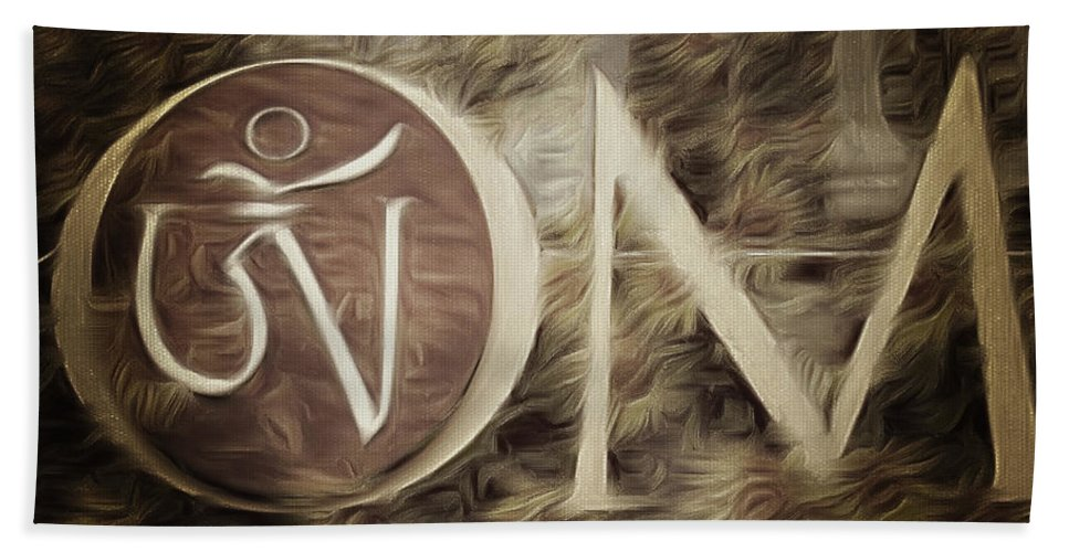 Om Beach Towel featuring the photograph Om Sepia by Cindy Greenstein