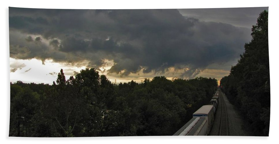 Nature Beach Towel featuring the photograph Ominous Skies Over Tracks by Matt Taylor