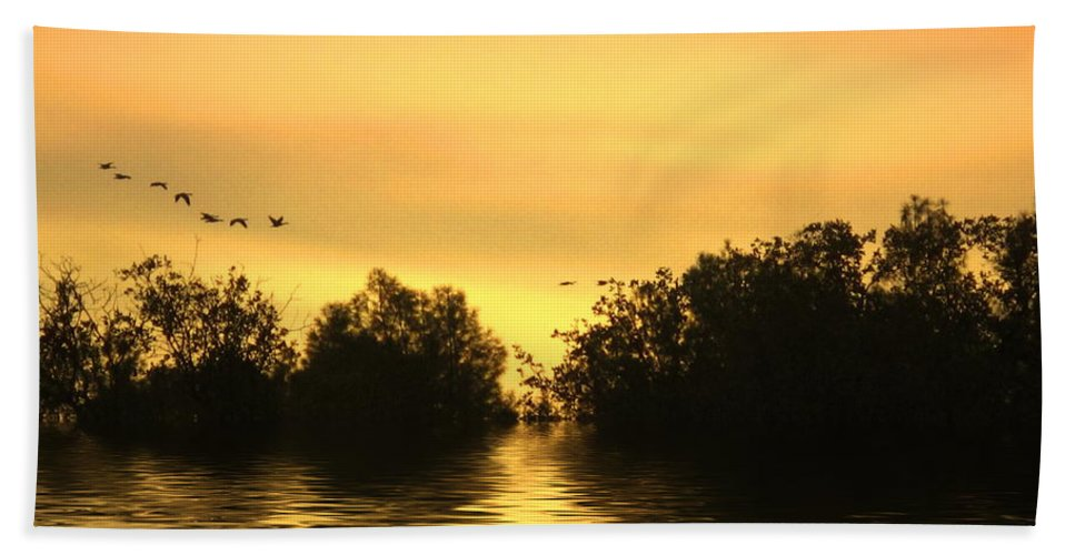 Sunset Beach Towel featuring the photograph On Golden Pond by Joyce Dickens