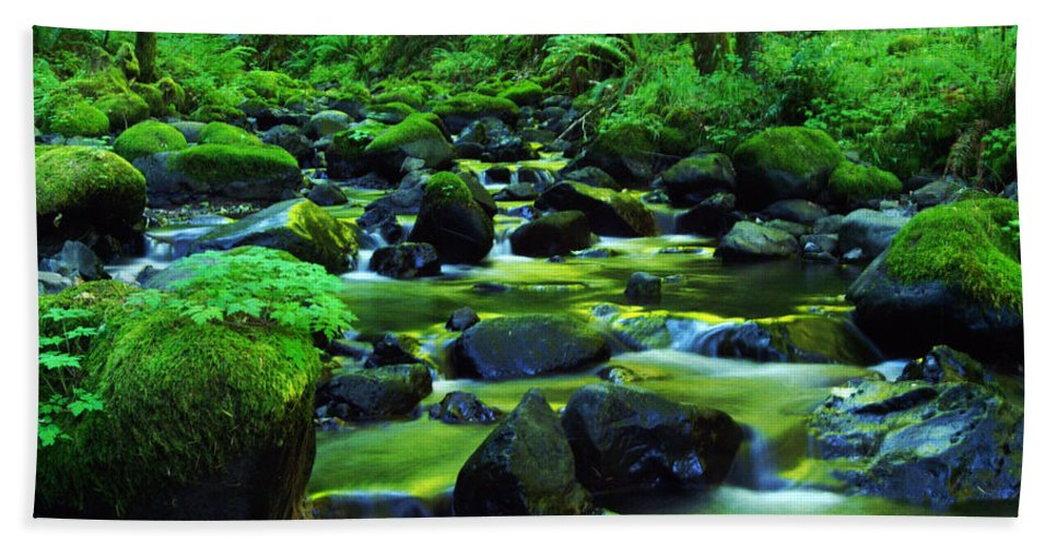 Oregon Streams Beach Towel featuring the photograph On Golden Waters by Jeff Swan