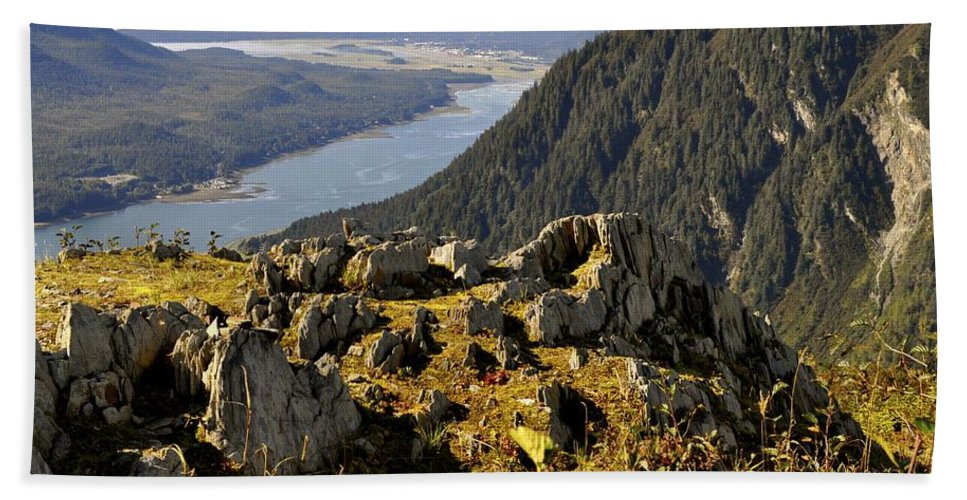 Mountains Beach Towel featuring the photograph On Mount Roberts by Cathy Mahnke