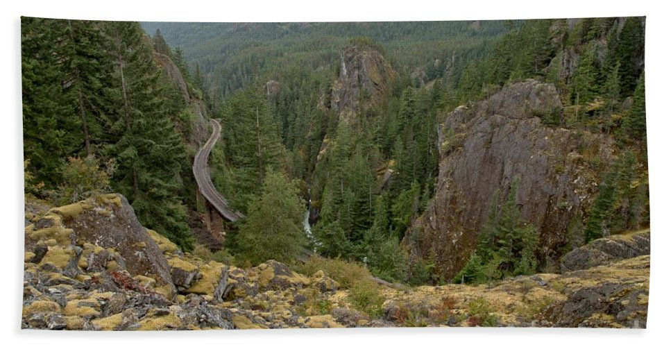 Railroad Gorge Beach Towel featuring the photograph On The Edge Of The Cheakamus River Gorge by Adam Jewell