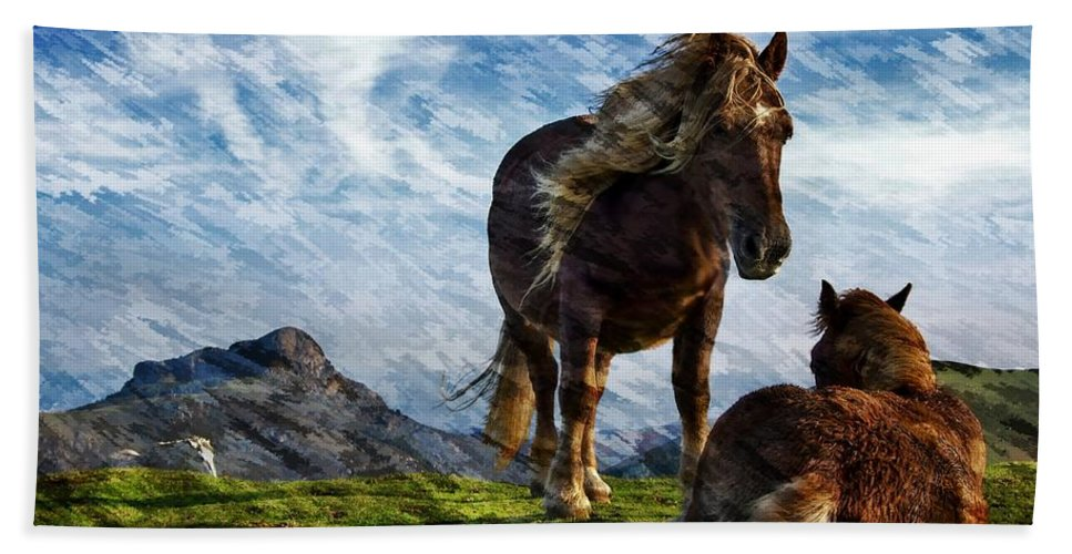 Horses Beach Towel featuring the photograph On The Range by Ericamaxine Price