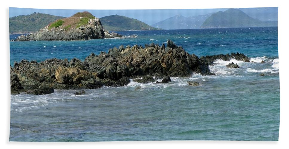 Sapphire Beach Beach Towel featuring the photograph On The Rocks 02 by Pamela Critchlow