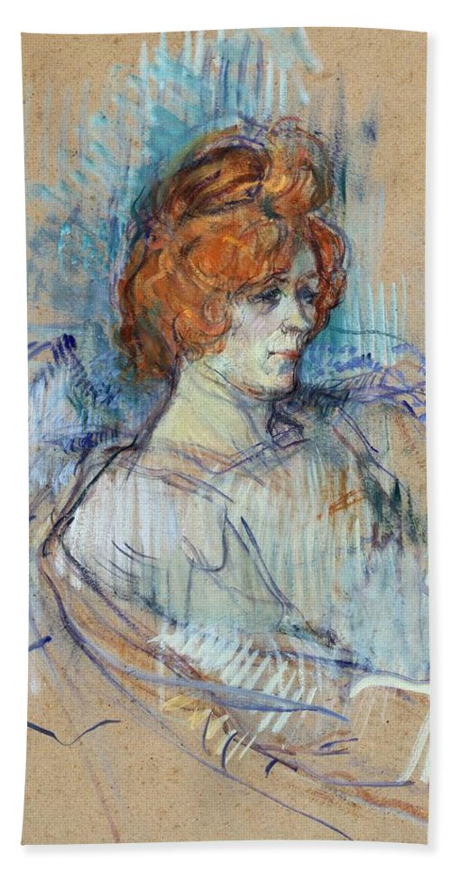 Art; Painting; 19th Century Painting; Europe; France; Toulouse-lautrec Henri De; Female Portrait; Henri De Toulouse-lautrec Beach Towel featuring the pastel On The Stage by Henri de Toulouse Lautrec
