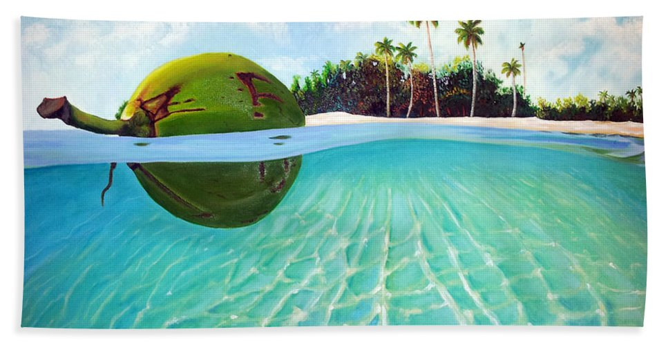 Coconut Beach Towel featuring the painting On The Way by Jose Manuel Abraham