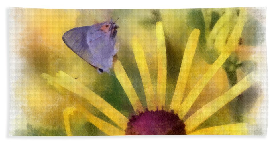 Butterfly Beach Towel featuring the photograph On The Yellow by Kerri Farley