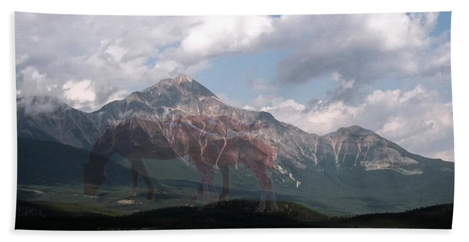 Mountain Mare Colt Horse Sky Clouds Grass Image Mirage Scenery Animal Artwork Mane Tail Quarter Horse Paint Appaloosa Digital Photo Art Weird Picture Imagination Beach Towel featuring the photograph Once by Andrea Lawrence