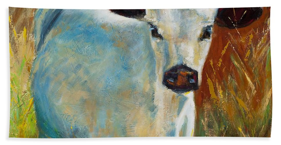 Cows Beach Towel featuring the painting Once In A Blue Moon by Frances Marino