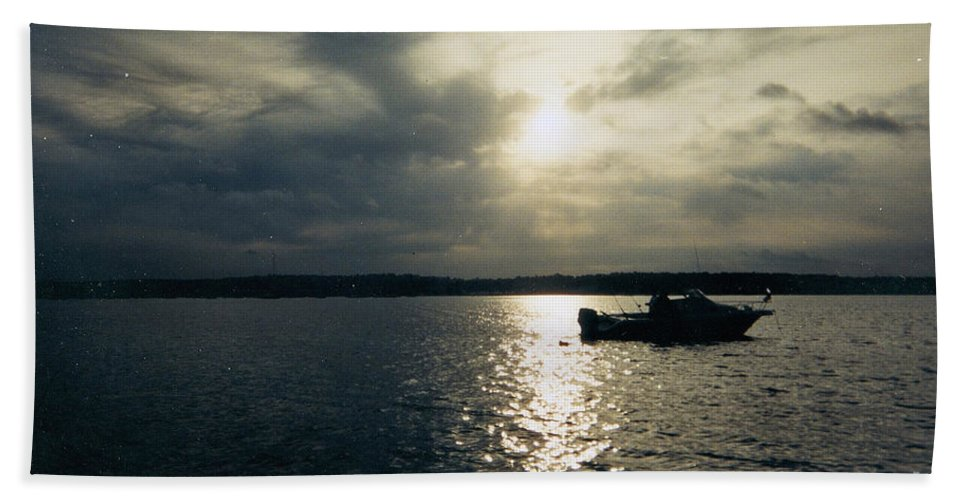 One Lonely Fisherman Beach Towel featuring the photograph One Lonely Fisherman by John Telfer