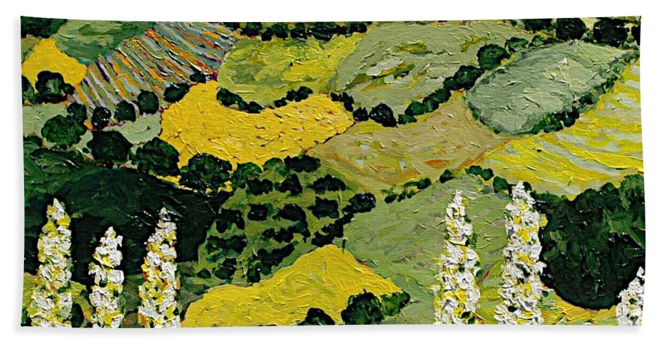 Landscape Beach Towel featuring the painting One More Smile by Allan P Friedlander
