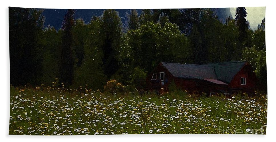 Meadow Beach Towel featuring the painting One Starry Summer Night by RC DeWinter