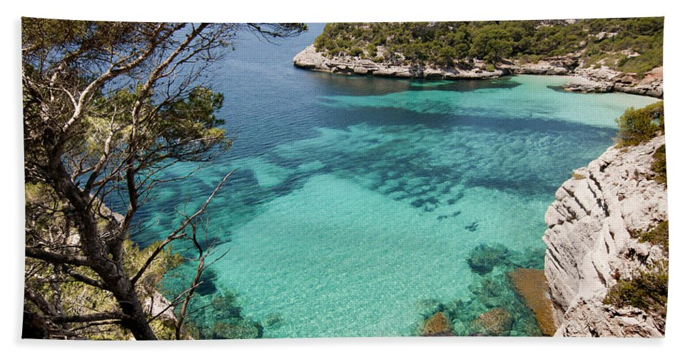 Blue Beach Towel featuring the photograph One Step To Paradise - Cala Mitjana Beach In Menorca Is A Turquoise A Cristaline Water Paradise by Pedro Cardona Llambias