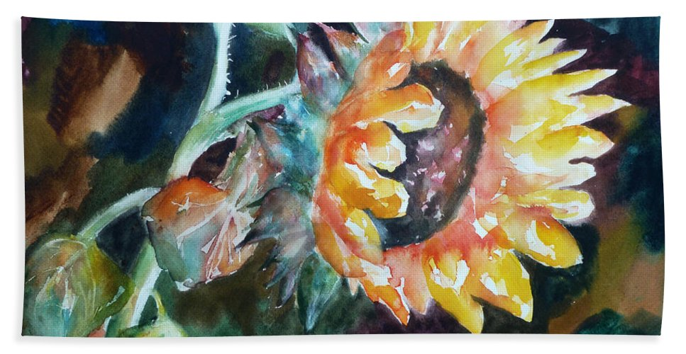 Sunflower Beach Towel featuring the painting One Sunflower by Carolyn Jarvis