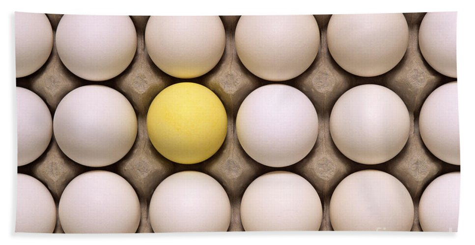 Carry Beach Towel featuring the photograph One Yellow Egg With White Eggs by Jim Corwin
