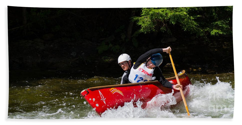 Canoe Beach Towel featuring the photograph Open Canoe Whitewater Race - Panorama by Les Palenik
