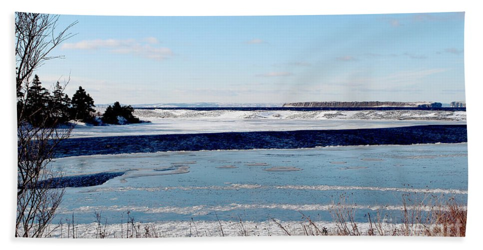 Open Creek Beach Towel featuring the photograph Open Creek - Ice Fishing - Winter by Barbara Griffin