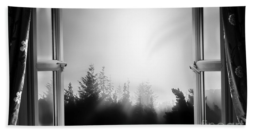 Window Beach Towel featuring the photograph Open Window At Night Bw by Simon Bratt Photography LRPS