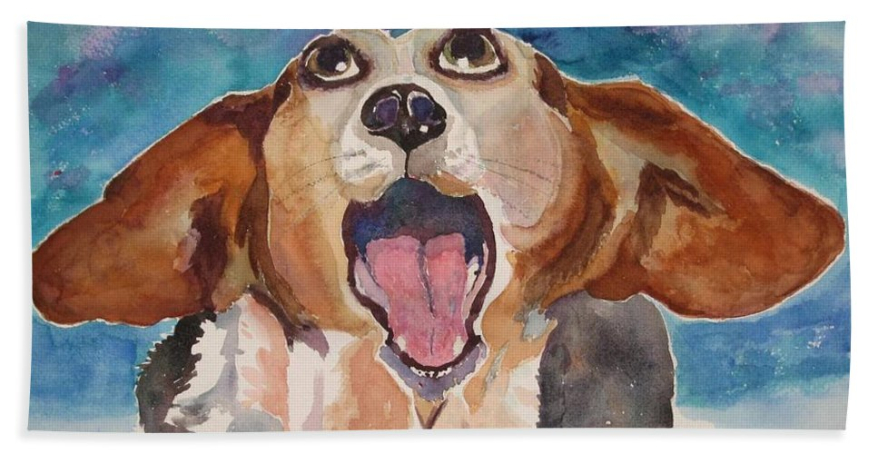 Basset Hound Beach Towel featuring the painting Opera Dog by Brenda Kennerly