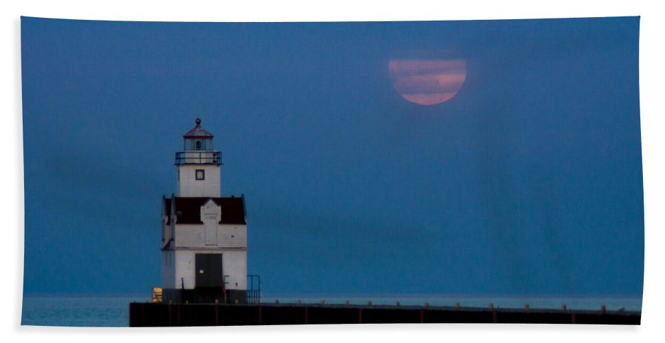 Lighthouse Beach Towel featuring the photograph Optimist's Moon by Bill Pevlor