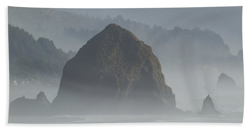 Water Beach Towel featuring the photograph Or Coast Ecola Haystack Rock 1 A by John Brueske