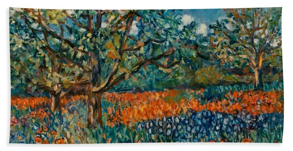 Flowers Beach Towel featuring the painting Orange and Blue Flower Field by Kendall Kessler
