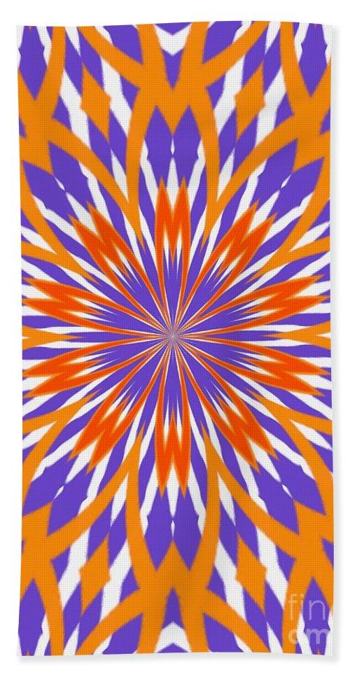 Orange Beach Towel featuring the digital art Orange And Purple Kaleidoscope by Sharon Woerner