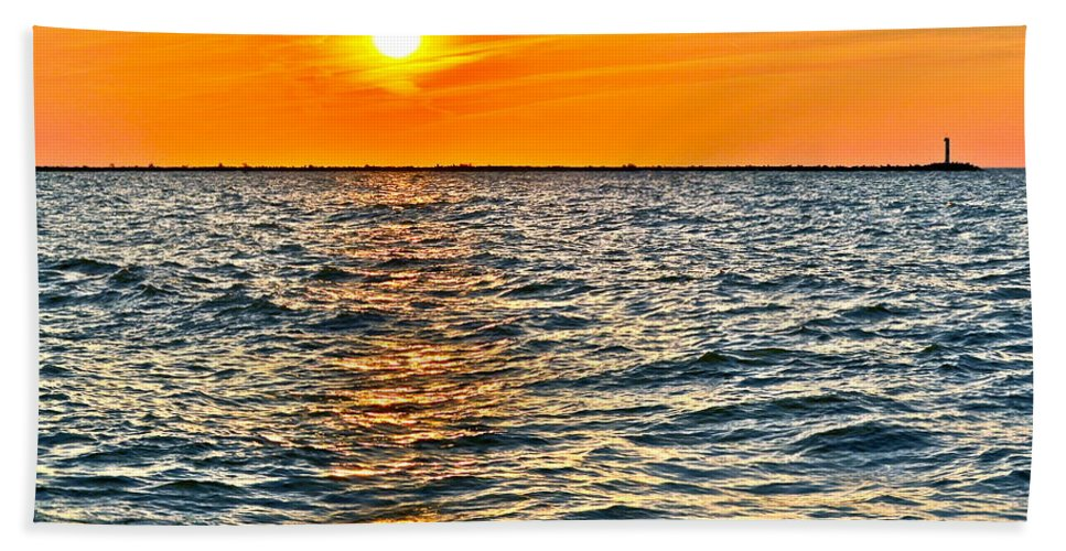 Seascape Beach Towel featuring the photograph Orange Burn by Frozen in Time Fine Art Photography