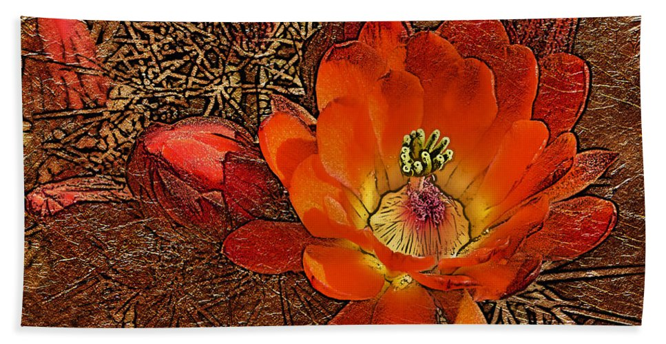 Flower Beach Towel featuring the photograph Orange Cactus Flower Gold Leaf by Phyllis Denton