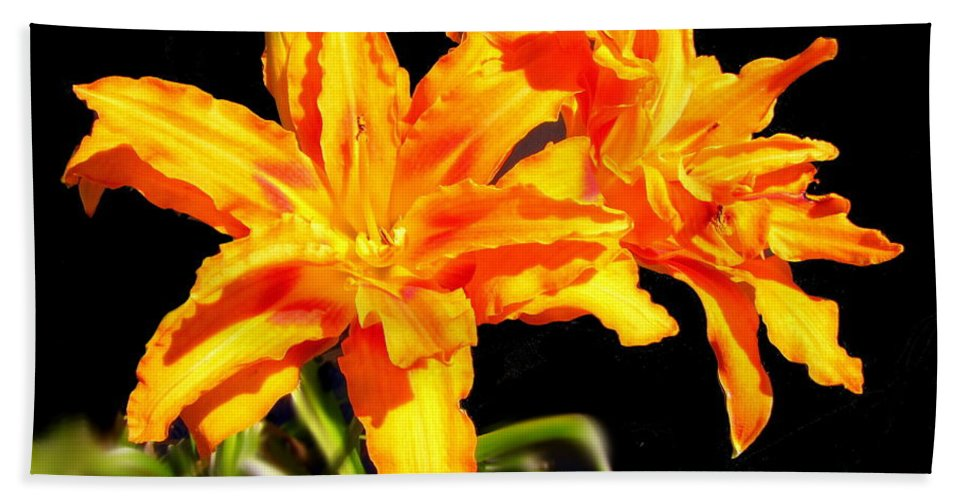 Lily Beach Towel featuring the photograph Orange Lily Twins by Joyce Dickens