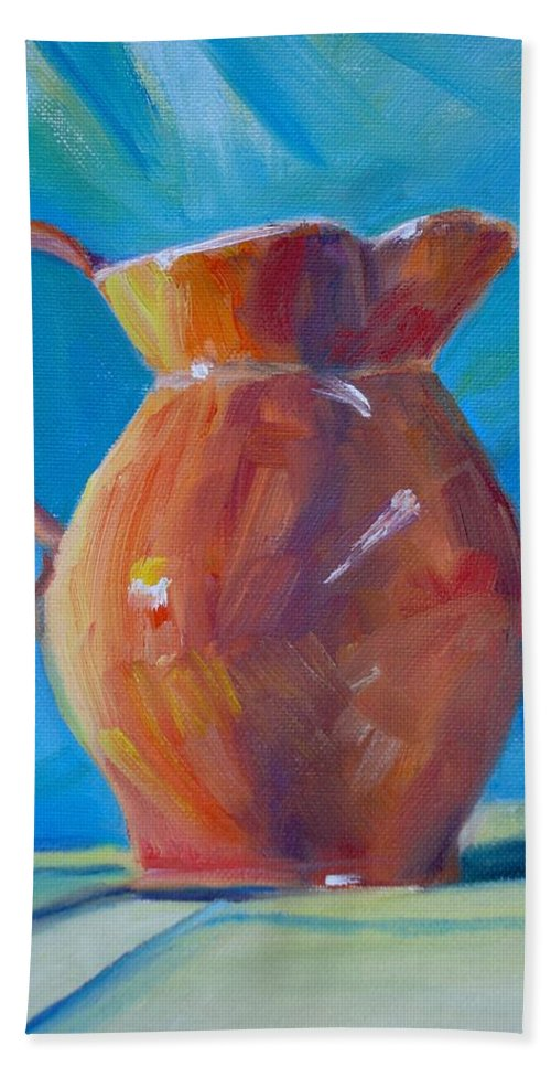 Pitcher Still Life Beach Towel featuring the painting Orange Pitcher Still Life by Donna Tuten