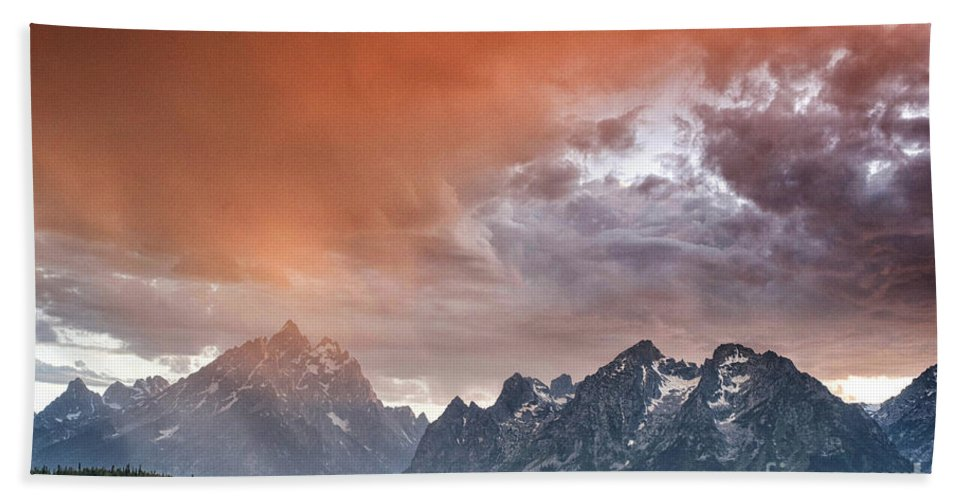 Tetons Beach Towel featuring the photograph Orange Rain by Claudia Kuhn