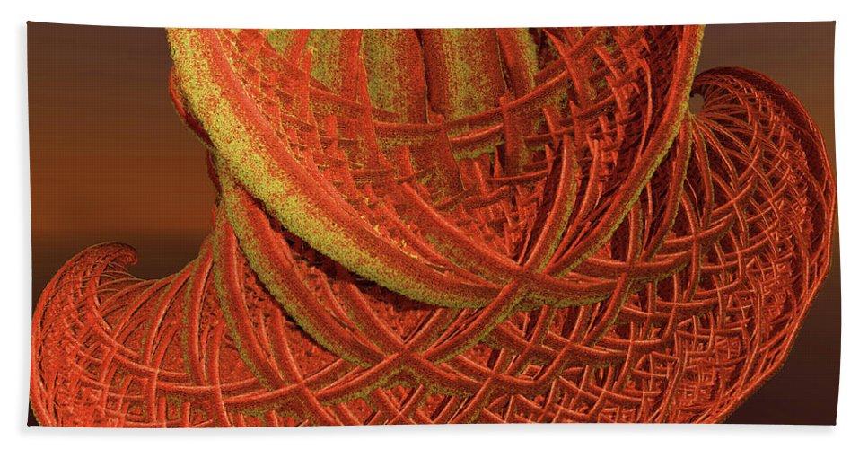 Incendia Beach Towel featuring the digital art Orange Weave by Deborah Benoit